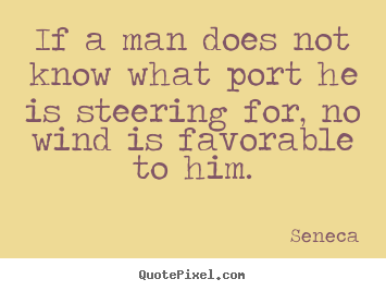 Seneca picture quotes - If a man does not know what port he is steering for, no wind is.. - Motivational quotes
