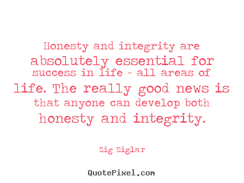Zig Ziglar picture quotes - Honesty and integrity are absolutely essential.. - Success quotes